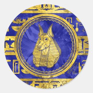 Golden Anubis  with hieroglyphs on blue Classic Round Sticker