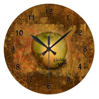 Golden Apple Botanical Large Clock