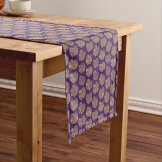 Golden Apple Pattern Purple Table Runner