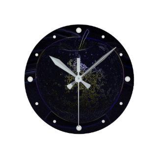 golden apple round clock