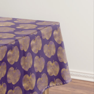 Golden Apples on Purple Pattern Tablecloth