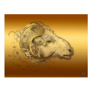 Golden Aries Ram Western Chinese Astrology Postcard