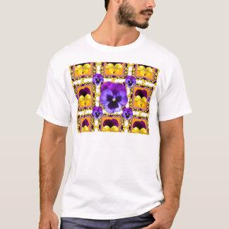 GOLDEN ART PURPLE & YELLOW SPRING PANSIES GARDEN T-Shirt
