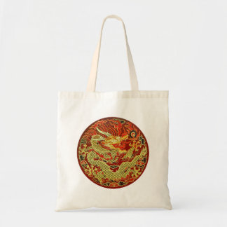 Golden asian dragon embroidered on dark red budget tote bag