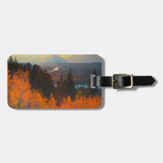 Golden Aspens Above Snake River At Sunset Tag For Luggage