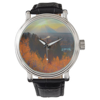 Golden Aspens Above Snake River At Sunset Wrist Watches