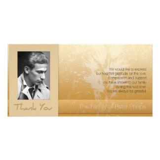 Golden Asphodel Frame Photo Sympathy Thank You P Personalized Photo Card