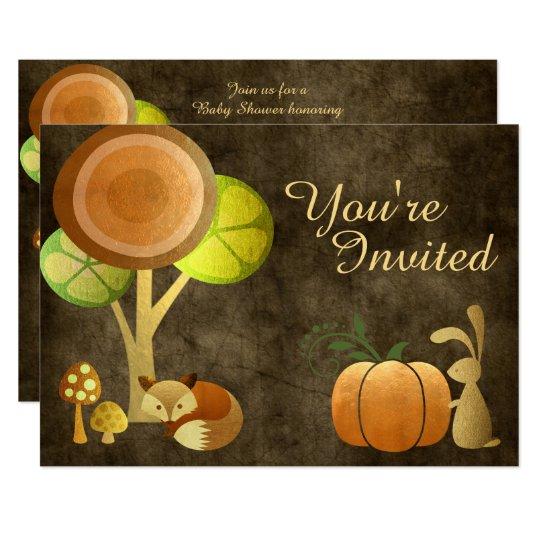 Golden Autumn Fox and Bunny Baby Shower Invitation