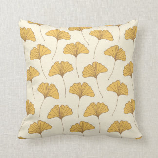 Golden Autumn Ginkgo Leaves Throw Pillow