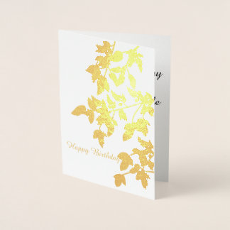 Golden Autumn Leaves Happy Birthday Foil Card