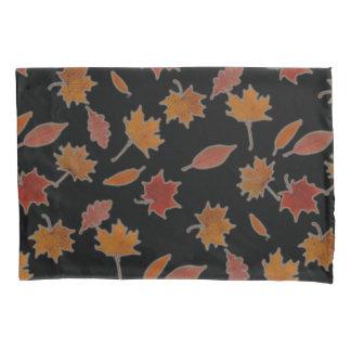 Golden Autumn Leaves on Black Custom Color Pillowcase