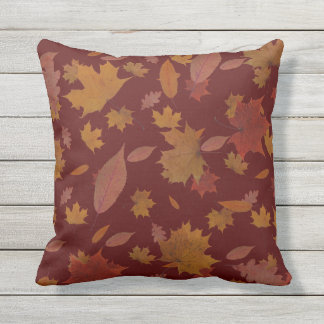 Golden Autumn Leaves on Custom Color Outdoor Pillow