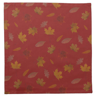 Golden Autumn Leaves on Red Custom Color Napkin
