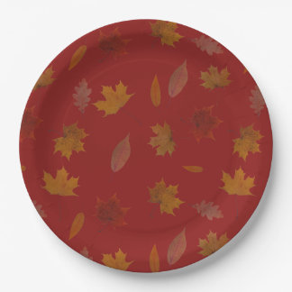 Golden Autumn Leaves on Red Custom Color Paper Plate