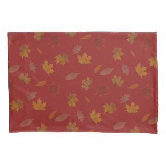 Golden Autumn Leaves on Red Custom Color Pillowcase