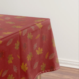 Golden Autumn Leaves on Red Custom Color Tablecloth