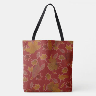 Golden Autumn Leaves on Red Custom Color Tote Bag