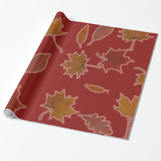 Golden Autumn Leaves on Red Custom Color Wrapping Paper