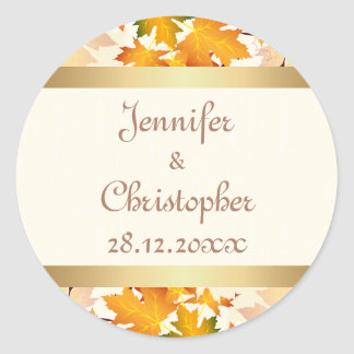 Golden Autumn Leaves Wedding Round Sticker