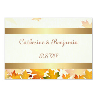 Golden Autumn Leaves Wedding RSVP Card