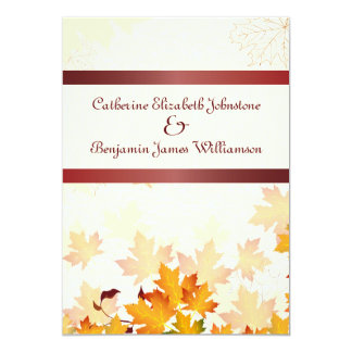 "Golden Autumn Leaves with Red Wedding 5"" X 7"" Invitation Card"
