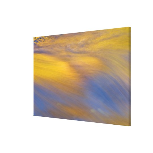 Golden Autumn Reflection on Flowing Water Canvas Print