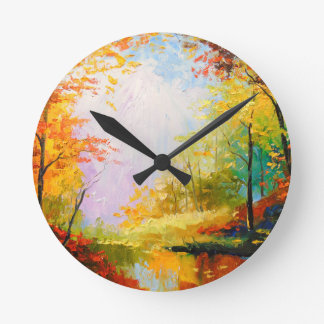 Golden autumn round clock