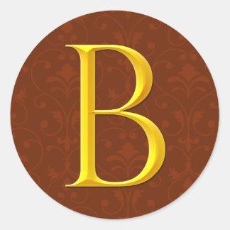 Golden B Monogram Round Sticker