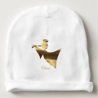 Golden Baby Angel Custom Name Olivia Baby Beanie