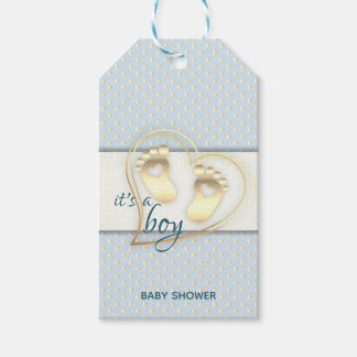 Golden Baby Boy Footprints and Hearts Baby Shower Gift Tags