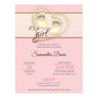 Golden Baby Girl Footprints and Hearts Baby Shower Postcard