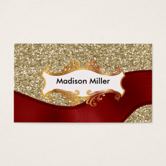 Golden background red ribbon business card