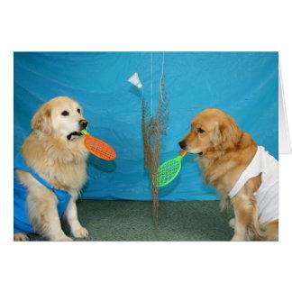 Golden Badminton Birthday Card