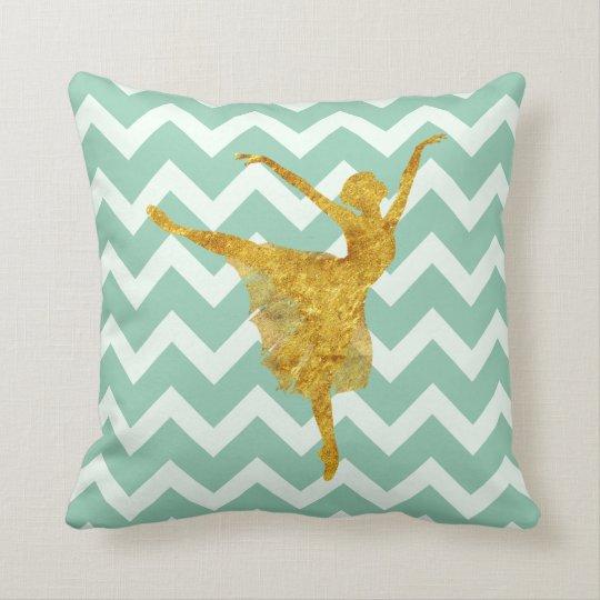 Golden Ballerina | Mint Chevron Throw Pillow
