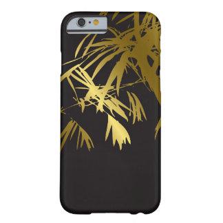 Golden Bamboo Leaves Zen Black Modern iPhone Case