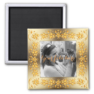Golden baroque style frame. magnet