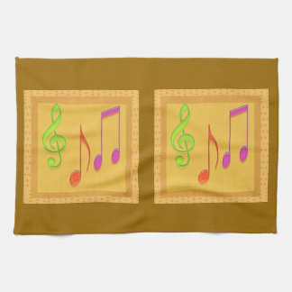 Golden Base Dancing Music Symbols Kitchen Towel