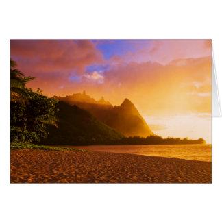 Golden beach sunset, Hawaii Card