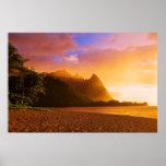 Golden beach sunset, Hawaii Poster