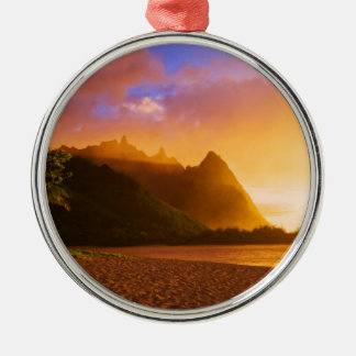 Golden beach sunset, Hawaii Silver-Colored Round Ornament