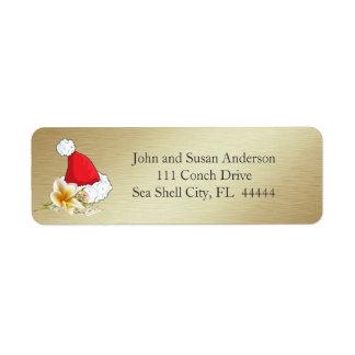 Golden Beach Tropical  Merry Christmas Address Return Address Label
