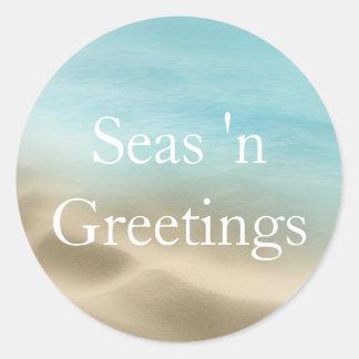 Golden Beach Tropical  Merry Christmas Sticker