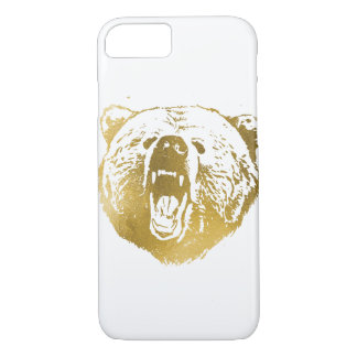 Golden Bear iPhone Case, White and Gold iPhone 8/7 Case