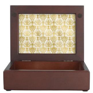Golden beautiful baroque stylish elegant pattern keepsake boxes
