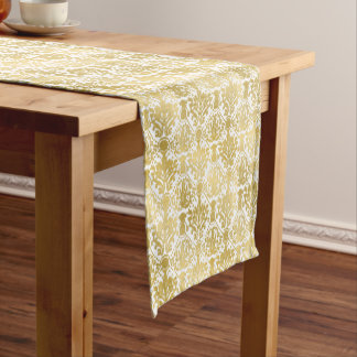 Golden beautiful baroque stylish elegant pattern short table runner