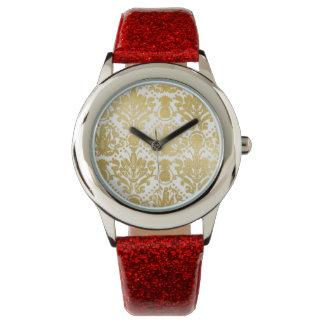 Golden beautiful baroque stylish elegant pattern watch