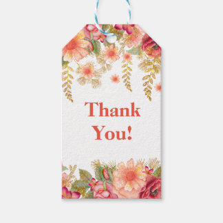golden beautiful  floral thank you gift tag