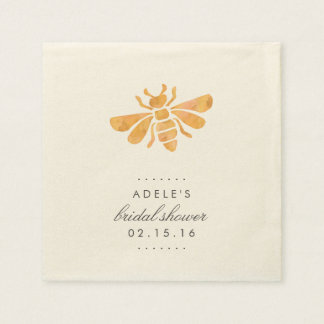 Golden Bee Watercolor Bridal Shower Disposable Napkin