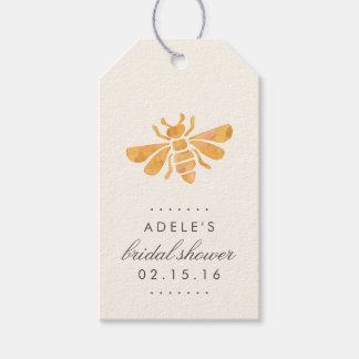 Golden Bee Watercolor Bridal Shower Favor Gift Tags