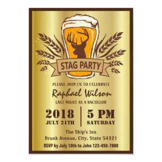 """Golden Beer Barley Stag Party/Bachelor Party Card 5"""" X 7"""" Invitation Card"""